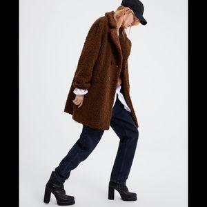 Zara Faux Fur Teddy Bear Coat